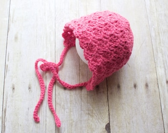 Newborn Pink Crochet Bonnet / Baby Bonnet / Pink Bonnet / Newborn Crochet Hat / Baby Hat /  Made to Order