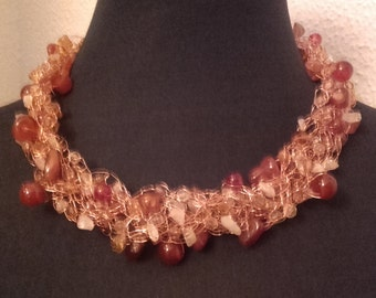With copper wire crochet necklace