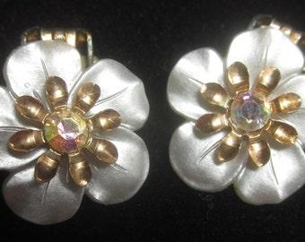Circa 1950s Flower Clip Earrings