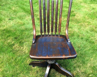 Antique Office Chair, Ford & Johnson Chair Company Office Chair, 1900's, Shabby Chic, Upcycled, Refinished, Repurposed