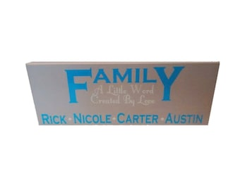 Custom Family Sign, Family Love Sign, Family Wood Sign, Custom Wedding Sign, Custom Family Gift, Created By Love, Custom Home Decor,