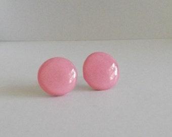 Pink Polymer Clay Stud Earrings, Pink Stud Earrings, Stainless Steel Stud Earrings