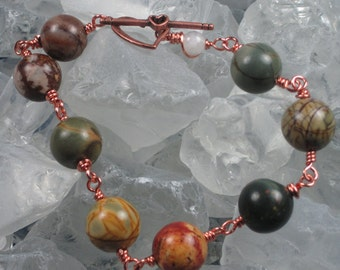Cherry Creek Jasper bracelet with Copper heart shaped toggle clasp and single Moonstone