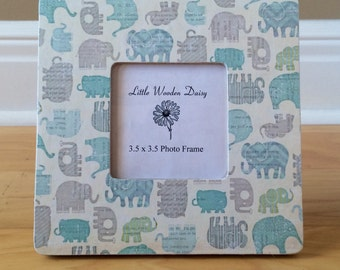 Elephant Picture Frame / Blue Elephants / Picture Frame / Decoupage Picture Frame