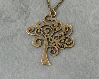 Tree Necklace Curly Tree Jewelry Filigree Tree Charm Necklace Bronze Tree Pendant Necklace Bridesmaid Necklace Brass Necklace Tree Gift