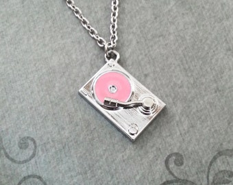 Turntable Necklace Pink Vinyl Record Necklace Music Jewelry Girl DJ Necklace DJ Gift Hip Hop Necklace Music Necklace Hip Hop Jewelry Charm