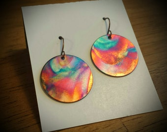 Torched Copper, Flame Painted Jewelry, Fire Torched Copper, Colorful Earrings, Flame Painted Copper, Beach Jewelry, Copper Jewelry, Boho