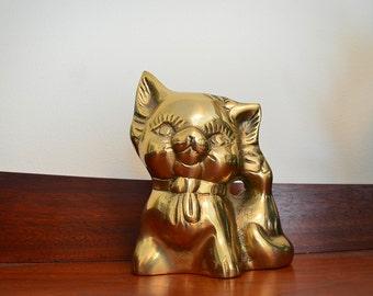 Vintage Brass Kitten Figurine