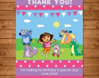 Dora the Explorer Thank You Card Pink Stars -- Dora Thank You -- Dora the Explorer Birthday --Dora the Explorer Party Favors