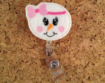 Snowman Badge Reel | Winter ID Badge Reel | Christmas Felt Badge Reel | Retractable Name Holder | Nurse | Teacher | Bowband 391