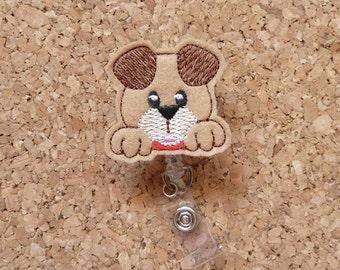 Peeping Puppy Dog Badge Reel, ID Badge Reel, FELT Badge Reel, Retractable ID Name Holder, Nurse Badge Reel,  Teacher Gift, 727