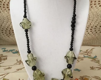 Fresh Spring Green Hand Blown Glass and Genuine Black Onyx Necklace and Earrings