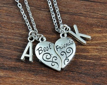 Best Friend Necklace - 2 piece Necklace BFF Split, Best Friends Initial Necklace, Best Friends Gift, Friendship Gift, Best Friends Jewelry