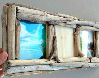 5x5 Frame, 3 Photo Picture Frame, Driftwood Frame, Driftwood Decor, Decorative Wood Unique Frame, Rustic Picture Frame, Coastal Home Decor