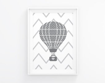 Gender neutral Nursery art - Hot air balloon - Nursery Printable - Nursery wall art  - Nursery decor - Digital download - 8x10 printable