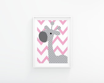 Pink and grey nursery art, Giraffe nursery print, Nursery Printable, Baby girl nursery,  Nursery wall art, Nursery decor, Nursery poster
