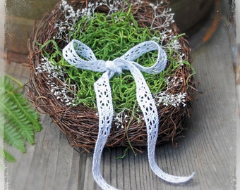 Woodland Wedding Ring Bearer Nest - Outdoor Weddings - Spring Summer Rustic Moss - Enchanted Forest Fairytale - Pillow Alternative Twig Vine