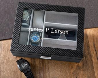 Personalized Watch Box, Watch Box with Sunglasses Holder, Engraved Watch & Sunglasses box