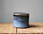 Pottery Jar with Lid, Studio Pottery, Rustic Handmade Pottery in Blue Glaze, Small Lidded Round Container,