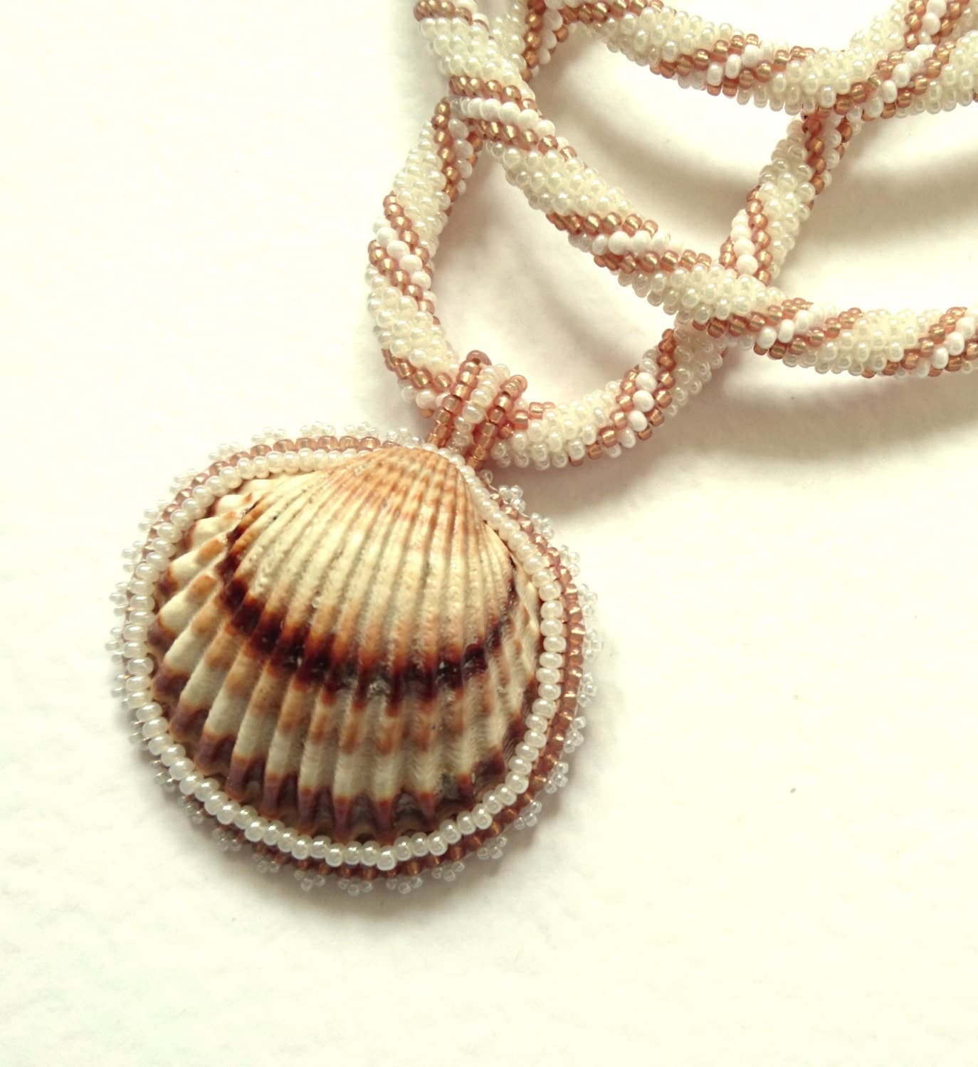 Make Your Own Seashell Jewelry: Seashell Necklace Beach Necklace Beadwork Ocean Necklace