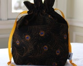 Small Knitting/Crochet Project Drawstring Bag - Peacock Feathers