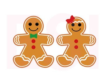 Gingerbread boy and Girl, Christmas svg files, SVG, DXF, EPS, for use with Silhouette Cameo and Cricut Explore. Gingerbread man svg.