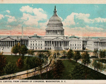 U.S. Capitol Building Vintage Postcard View from Library of Congress Tinted Washington D.C. B.S. Reynolds Co C.T. American Art