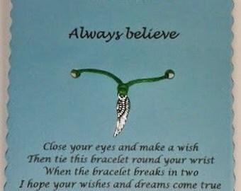 Angel Wish Bracelet, Angel gift, Friendship bracelet, Charm bracelet, Angel wing Bracelet, Keepsake card, Angel card, Angel wing charm