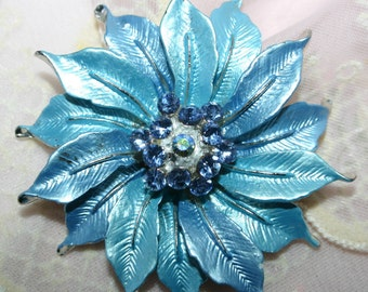 Pin/brooch-ice blue frosty enamel flower design-light blue rhinestone center-layered petals with silver tips and veins.