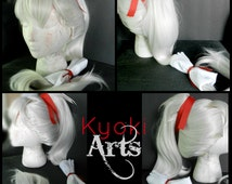 Custom Made to Order Fire Emblem Takumi Wig and Accessories cosplay costume hair tie ribbon ponytail styled spiked