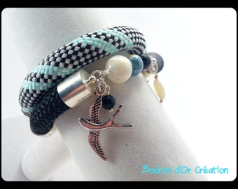 Bracelet double row rope and swallow