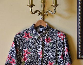 Vintage Leopard woman's blouse