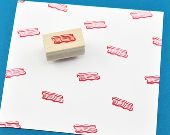 Bacon Rubber Stamp, Hand Carved Stamp