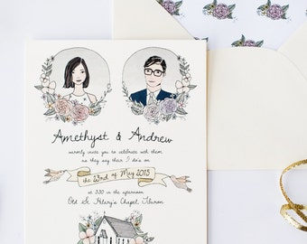 Illustrated Wedding Invitation | Custom & Hand Drawn Invitation Suite for Weddings, Birthdays, Showers