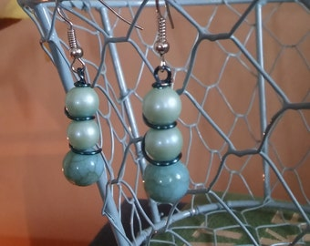 Blue Bead Stacked Earrings