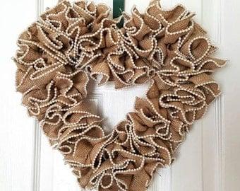 Heart shape Burlap & Pearl Wreath