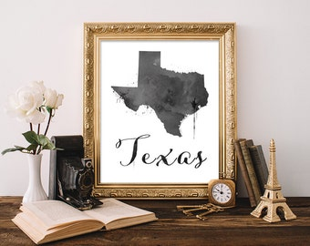 Texas Art print, Watercolor Texas wall art, Texas wall decor, Texas art print, Texas decor, Texas home decor, Rustic home decor, Texas state