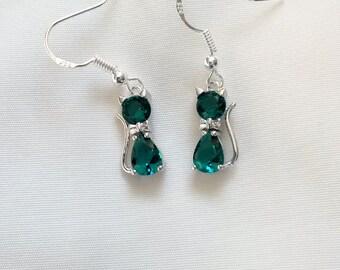 Cat Earrings - Crystal Cat Earrings - Emerald Green Crystal Cat Earrings -