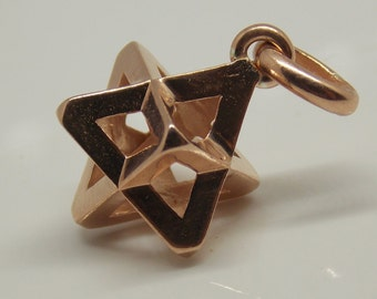 New Merkaba Pendant   Pink Gold plated   new Age jewelry   Sacred geometry   Energy jewelry   spiritual jewelry   3 Dimensions pendant