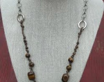 Tiger Eye on Stainless Steel Chain
