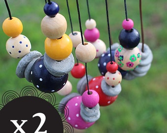 x 2 best friend deal - Hand painted beaded necklace - two necklaces