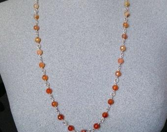 Long Carnelian necklace, Carnelian rosary style silver necklace, Carnelian and silver necklace, long silver necklace