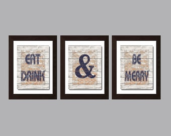 Modern Kitchen Wall Art Rustic Decor Eat And Drink Be Merry Print