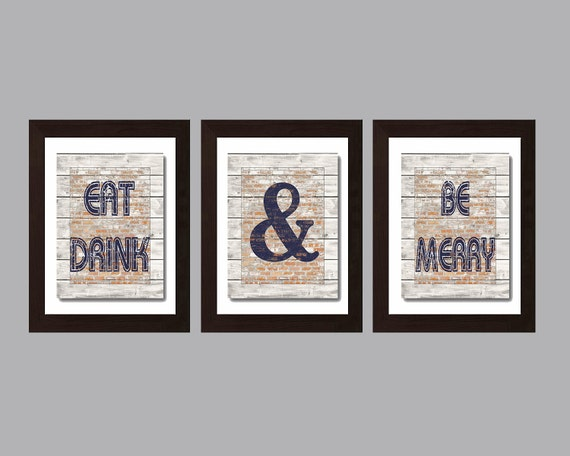 Modern kitchen wall art rustic kitchen decor eat and drink for Modern kitchen wall decor