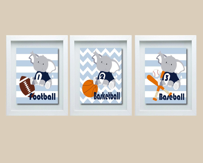Wall Decorations Sports : Sports decor nursery elephant wall art
