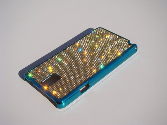 Galaxy Note 3 Gold Topaz Crystals on Turquoise Chrome Case. Velvet/Silk Pouch Bag Included, Genuine Rangsee Crystal Cases.