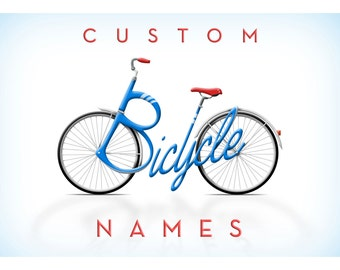 Personalised Bicycle Name, Custom Artwork, Unique Gift, Name Typography - Cards, Signs and Posters