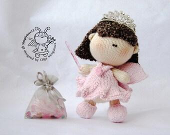 Pebble doll Fairy- knitting pattern (knitted round)  Amigurumi doll Fairy.