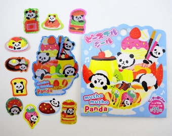 71 Japanese panda sweets & snacks SCENTED shimmer sticker flakes - kawaii fluffy pandas - doughnuts - pancakes - ice cream - bread - curry