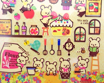 Kawaii Japanese teddy bear bakery stickers - sweets & treats - baking cupcakes - doughnuts - strawberries - cooking cookies and biscuits